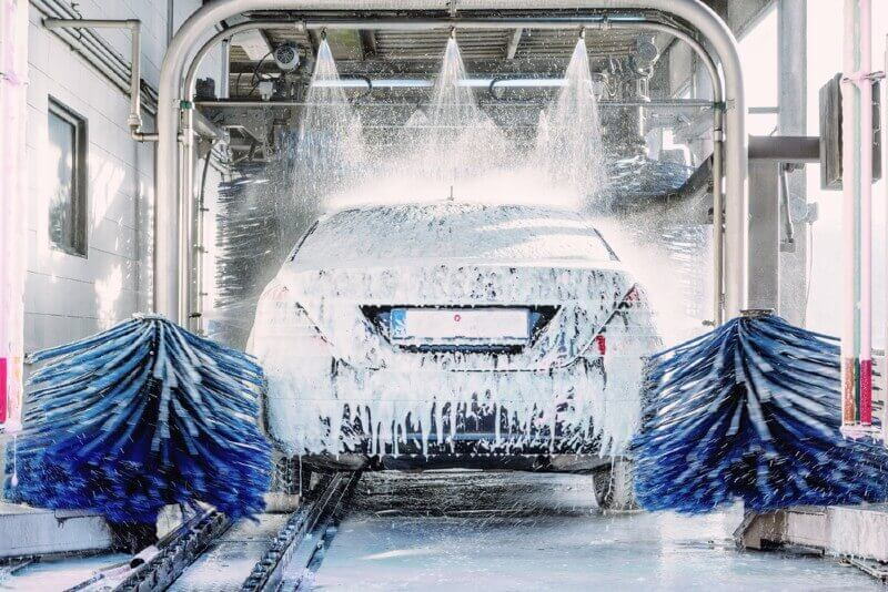 Automatic car wash in action