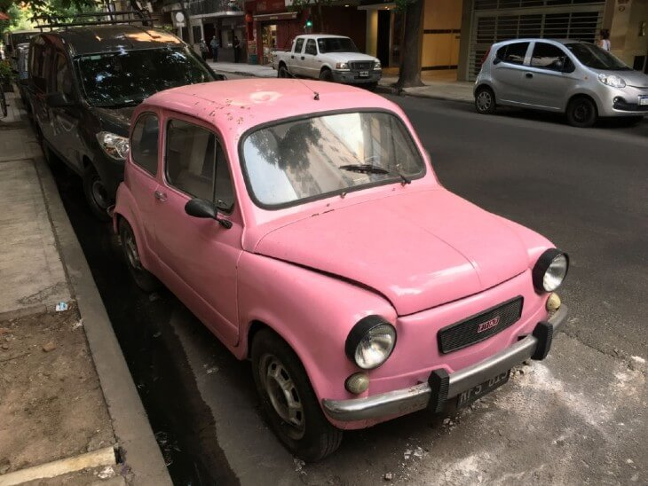 A Cute Fiat model 600 painted in pink color