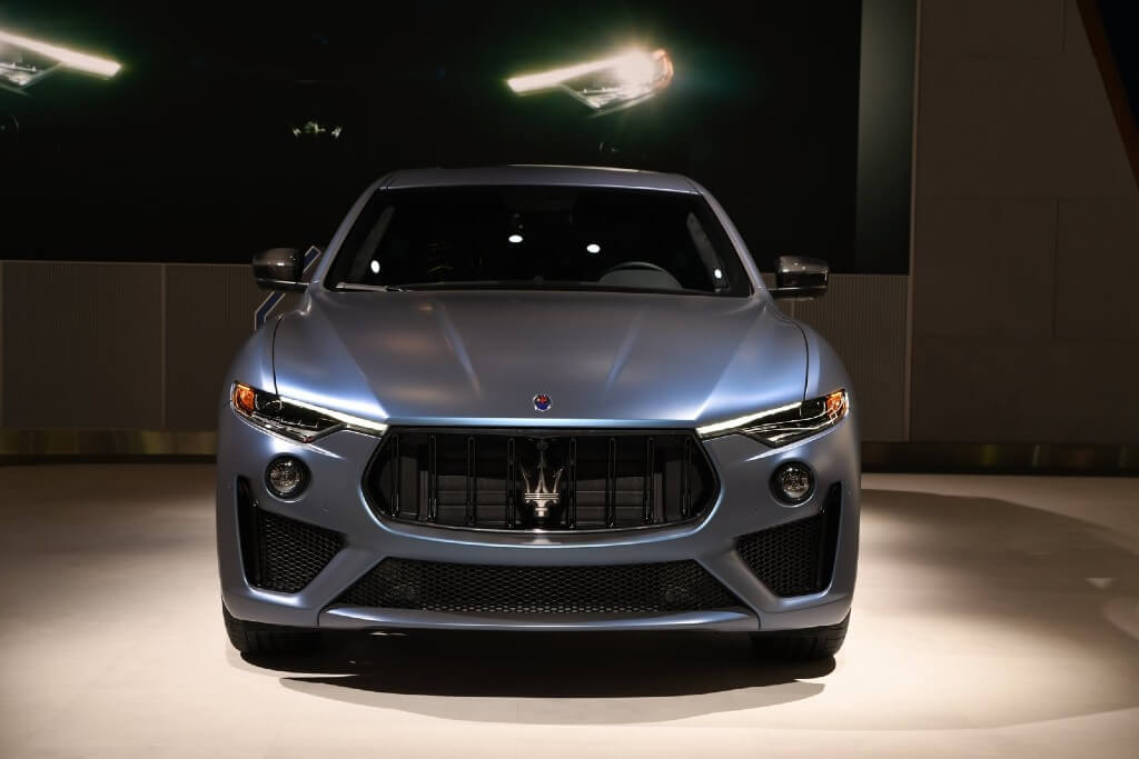"Maserati Levante GTS ONE OF ONE features ""Blue Astro"" tri-coat exterior paint with a matte finish."