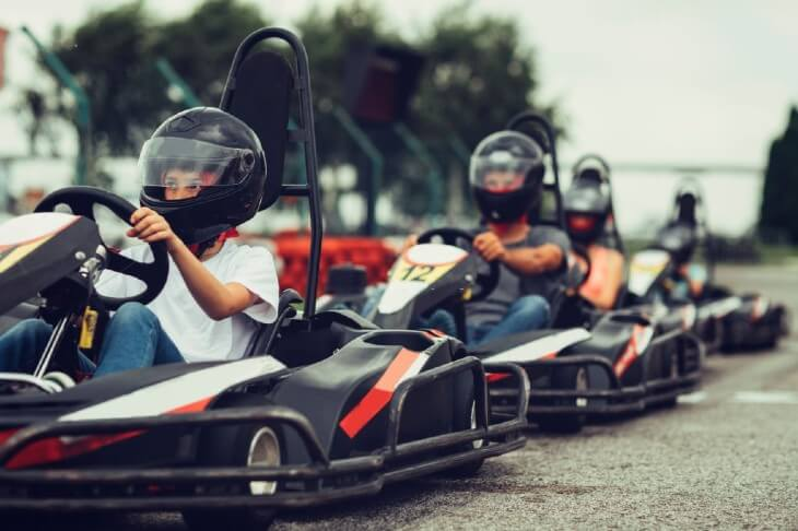 Family go-Karts together.