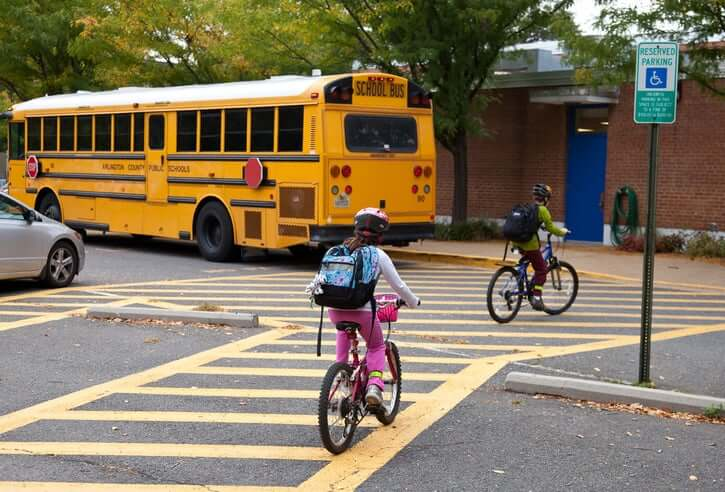 Students bike to school