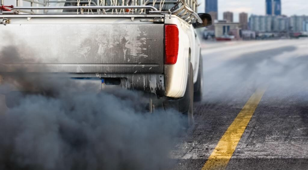 Air pollution in city from diesel vehicle